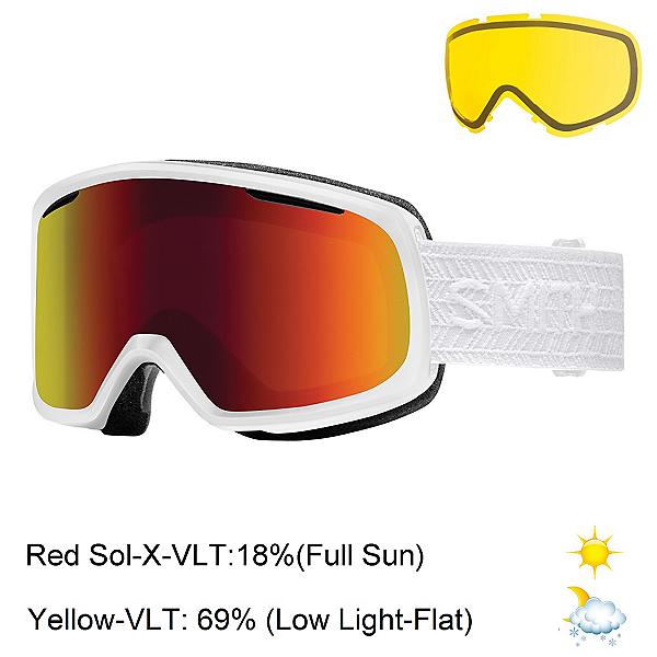 Smith Riot Womens Goggles, White Eclipse-Red Sol X Mirror + Bonus Lens, 600