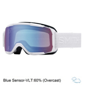Smith Showcase Womens OTG Goggles 2017, White Eclipse-Blue Sensor Mirr, medium
