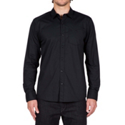 Volcom Everett Solid Long Sleeve Mens Shirt, Black, medium