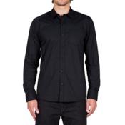 Volcom Everett Solid Long Sleeve Mens Shirt, Black, medium