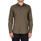 Volcom Everett Solid Long Sleeve Mens Shirt, Military, medium