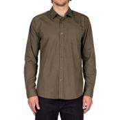 Volcom Everett Solid Long Sleeve Mens Shirt, Military, medium