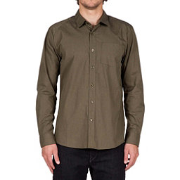 Volcom Everett Solid Long Sleeve Mens Shirt, Military, 256