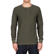 Volcom Moxee Long Sleeve Henley Mens Shirt, Military, medium