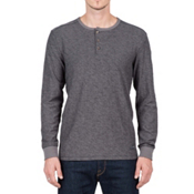 Volcom Moxee Long Sleeve Henley Mens Shirt, Pewter, medium