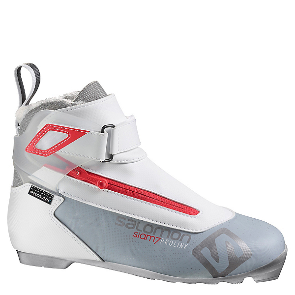 Salomon Siam 7 Prolink Womens NNN Cross Country Ski Boots 2017, Light Grey-Red, 600