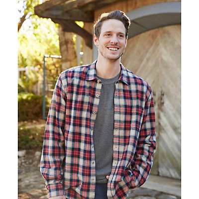 Purnell Navy Orange Plaid Flannel Mens Shirt, Navy-Orange, viewer