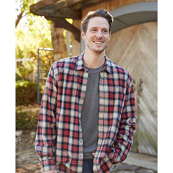 Purnell Navy Orange Plaid Flannel Flannel Shirt, Navy-Orange, 600