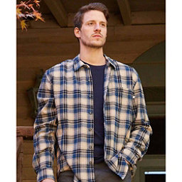 Purnell Blue Cream Plaid Flannel Flannel Shirt, Blue-Cream, 256