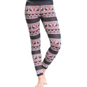 Purnell Reindeer Print Base Layer Legging, Navy-Cream, medium
