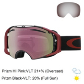 Oakley Airbrake Prizm Asian Fit Goggles 2017, Iron Fired Brick-Prizm Hi Pin + Bonus Lens, medium