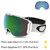 Oakley Airbrake XL Prizm Goggles 2017, Polished White-Prizm Jade Irid + Bonus Lens, medium