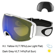 Oakley Airbrake XL Goggles 2017, Polished White-Hi Yellow Iridi + Bonus Lens, medium