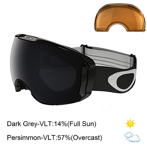 Oakley Airbrake XL Goggles 2017, Jet Black-Dark Grey + Bonus Lens, 600