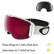 Oakley Airbrake XL Prizm Goggles, Polished White-Prizm Rose + Bonus Lens, medium