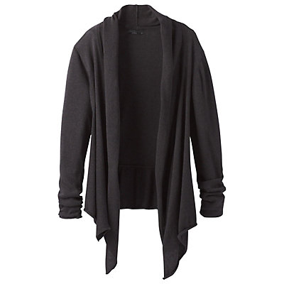 Prana Georgia Wrap Womens Sweater, Charcoal, viewer