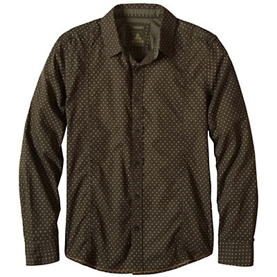 Prana Lukas Slim Mens Shirt, Dark Olive, viewer