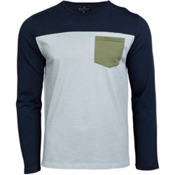 United By Blue Standard Long Sleeve Colorblock Pocket Mens Shirt, Navy, medium
