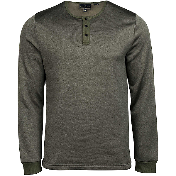 United By Blue Standard Long Sleeve Henley Mens Shirt, Olive, 600