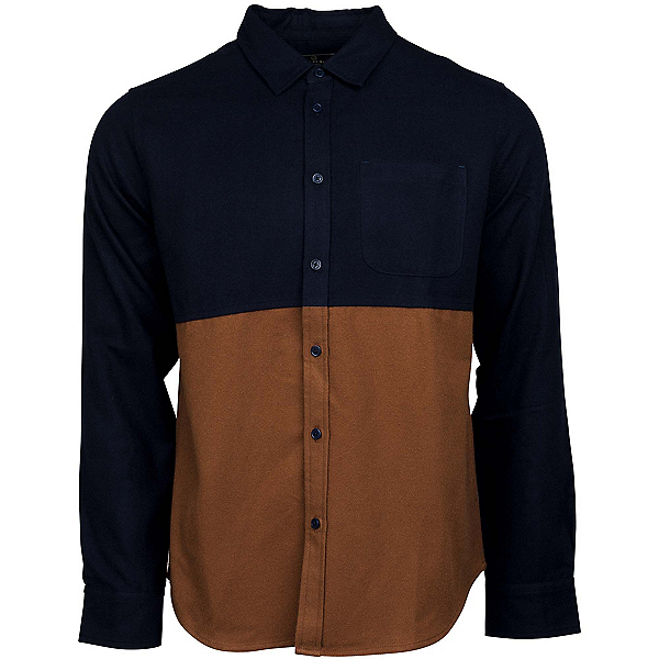 United By Blue Banff Colorblock Wool Mens Shirt, Navy-Brown, 600