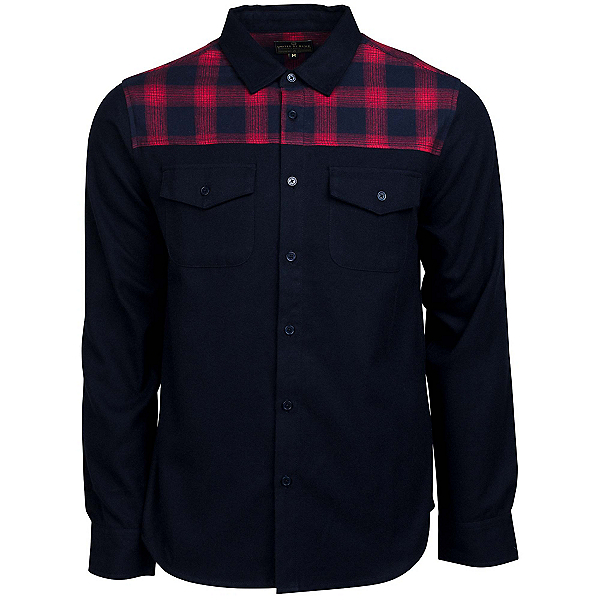 United By Blue Banff Plaid Trim Wool Mens Shirt, Navy-Red Plaid, 600