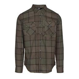 Oakley Adobe Woven Mens Flannel Shirt, Dark Brush, 256