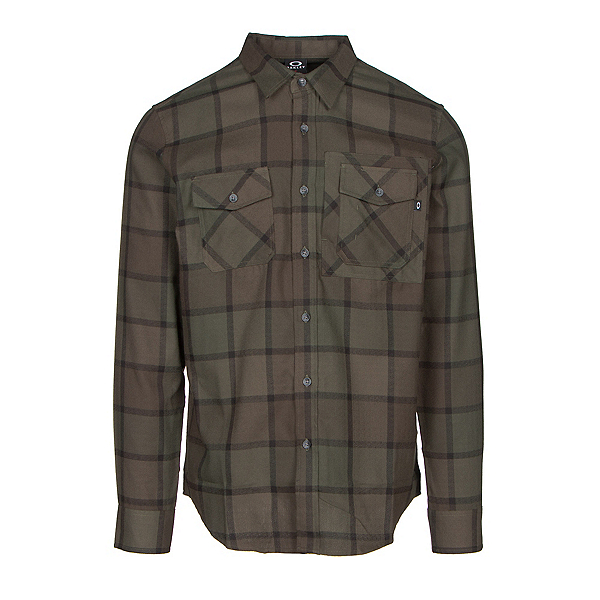Oakley Adobe Woven Mens Flannel Shirt, Dark Brush, 600