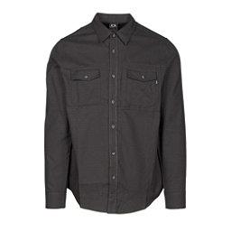 Oakley Adobe Woven Mens Flannel Shirt, Jet Black Heather, 256