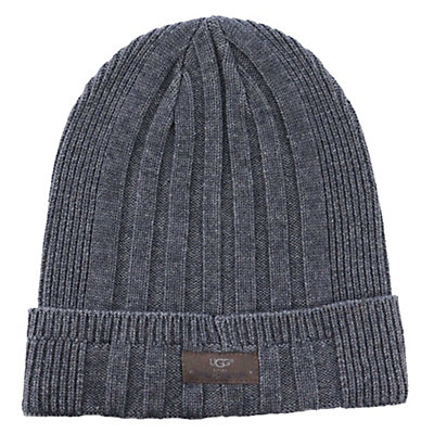 UGG Ribbed Cuff Mens Hat, Charcoal Heather, viewer