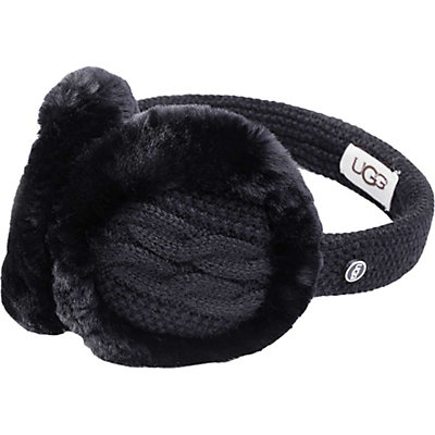 UGG Wired Cable-Knit Earmuff, Black, viewer