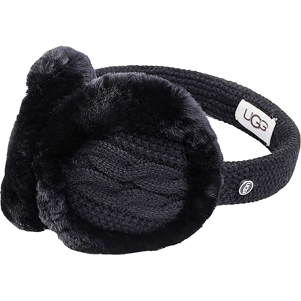 UGG Wired Cable-Knit Earmuff, Black, 600