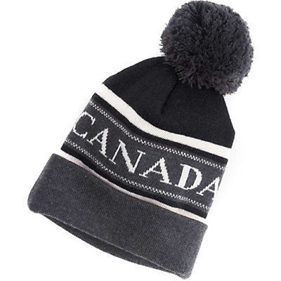 Canada Goose Merino Logo Pom Hat, Black-Graphite-White, viewer