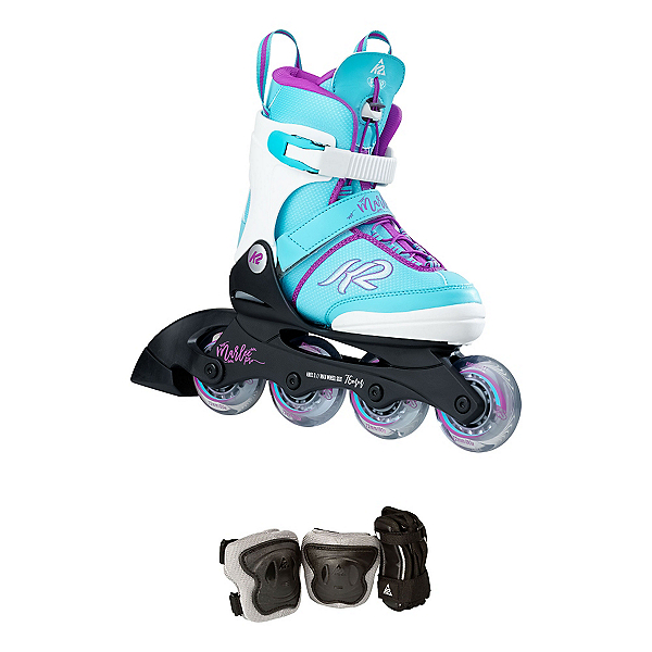 K2 Marlee Pro Pack Adjustable Girls Inline Skates 2017, Light Blue, 600