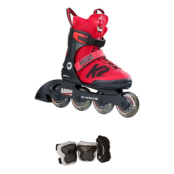 K2 Raider Pro Pack Adjustable Kids Inline Skates 2017, Red, 600