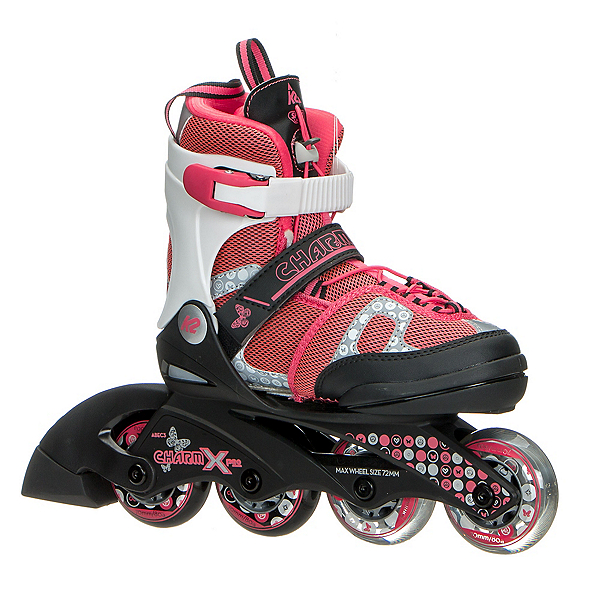 K2 Charm X Pro Adjustable Girls Inline Skates 2017, Black-Pink, 600