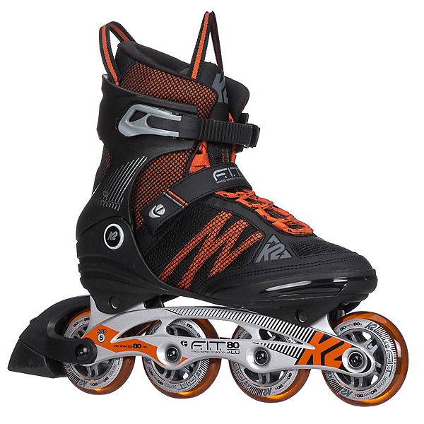 K2 F.I.T. 80 ALU Inline Skates 2017, Black-Orange, 600