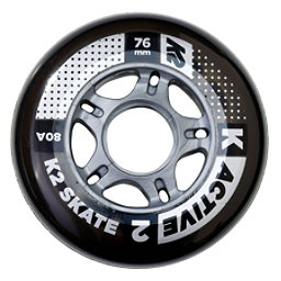 K2 Active 76mm 80A Inline Skate Wheels - 4 Pack 2017, , 256