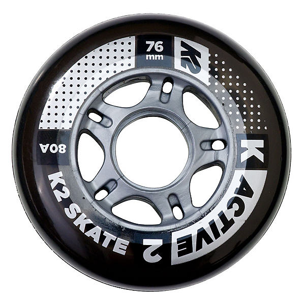 K2 Active 76mm 80A Inline Skate Wheels - 4 Pack 2017, , 600