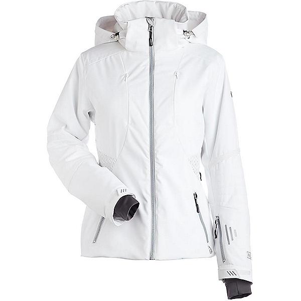NILS Dakota Special Edition Womens Insulated Ski Jacket, White-Metallic Silver Velocity, 600