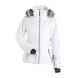 NILS Dakota Special Edition Fur Womens Insulated Ski Jacket, White-Metallic Silver Velocity, 256
