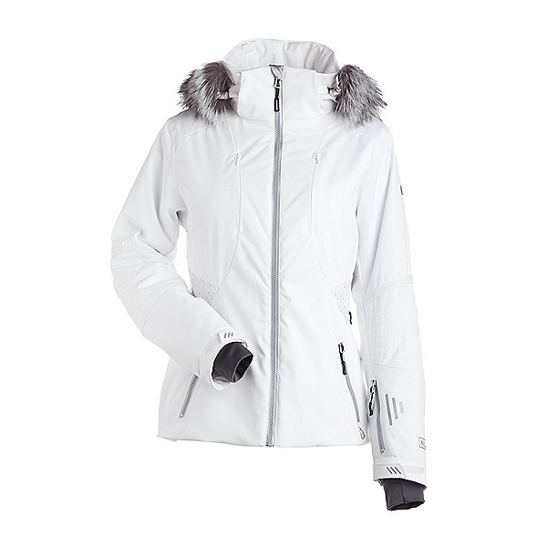 NILS Dakota Special Edition Fur Womens Insulated Ski Jacket, White-Metallic Silver Velocity, 600
