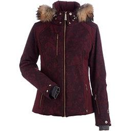 NILS Josie Real Fur Womens Insulated Ski Jacket, Cabernet Winter Winds Print-Ca, 256