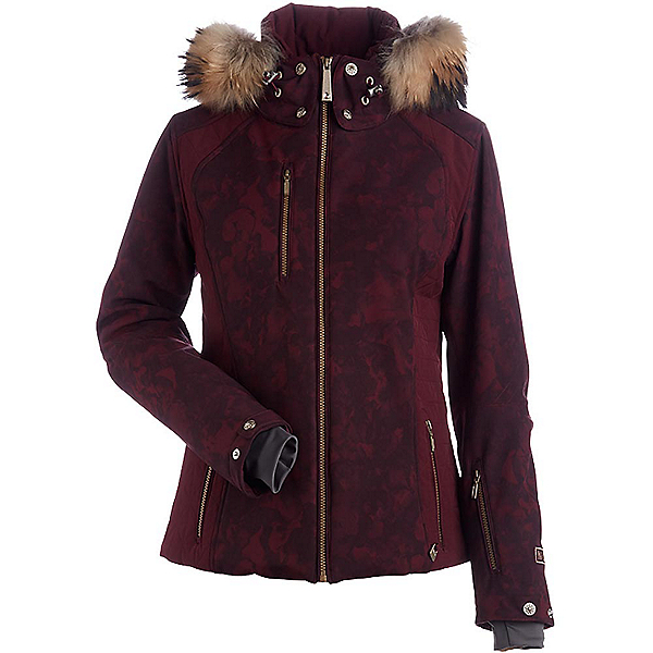 NILS Josie Real Fur Womens Insulated Ski Jacket, Cabernet Winter Winds Print-Ca, 600