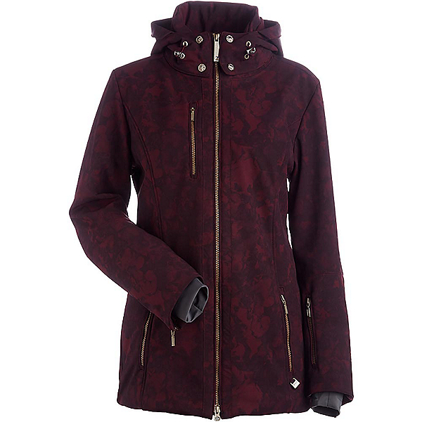 NILS Maribel Print Womens Insulated Ski Jacket, Cabernet Winter Winds Print, 600