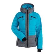 NILS Brook Womens Insulated Ski Jacket, Light Teal-Dark Texture, medium
