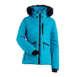 NILS Alexandra w/ Faux Fur Womens Insulated Ski Jacket, Light Teal, 256