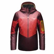 KJUS FRX Boys Ski Jacket, Rum-Scarlet-Orange Pepper, medium