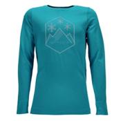 Spyder Crest Boxed Girls Long Underwear Top, Bluebird-White, medium