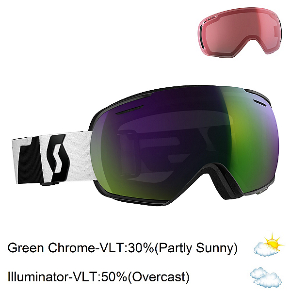 Scott Linx Goggles, Black-White-Solar Green Chrome + Bonus Lens, 600