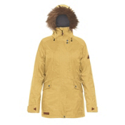 Dakine Brentwood with Detachable Faux Fur Hood Brim Womens Insulated Ski Jacket, Curry, medium